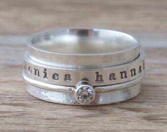 Spinner Ring Birthstone Personalized Ring Sterling Silver Jewelry Hand Stamped Ring