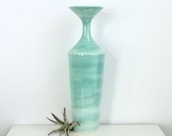MOVING SALE Large Ceramic Vase Turquoise, Tall Porcelain Vase Turquoise