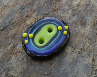 Oval 2 Hole Button Artisan Handmade Green Blue Yellow