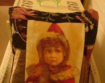 Christmas*Winter*Girl in red fur trimmed hood and coat Victorian*Pillow*Embrodery and crazy quiting*Lovely