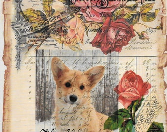 Dog*Dogs*Corgi Dog*French Ledger vintage roses collage*Gorgeous***Quilt art fabric block*Quilts,Pillows,Sachets,Frame