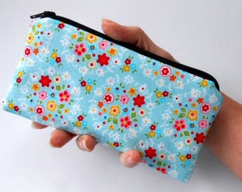 SALE Zipper Pouch Smart Phone Pouch Eco Friendly Padded NEW SIZE Blue Bliss