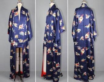 vintage kimono / silk robe / 1950s / MOON FLOWER wedding kimono