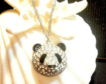 Back To School Panda Necklace, Vintage Rhinestone Silver Panda Head, 1970 Rhinestone Panda Head, 22 Inch Silver Chain