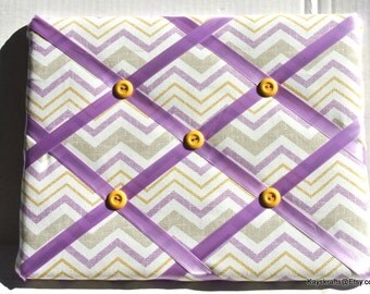 Lavender Chevron Zig Zag Memory Board French Memo Board, Waverly Inspirations Lavender Chevron Bulletin Board, Fabric Pin Board