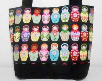 Matryoshka Nesting Dolls Purse, Black Tote Bag with Pockets