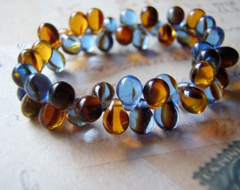 Blue Denim and Amber Glass Beads  5 x 7 mm Top Drilled Teardrop 20 Beads