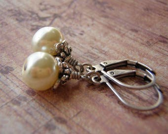 Antique White Pearl Earrings  Antique Silver  Lever Back Ear Wire 8 mm Crystal Pearl