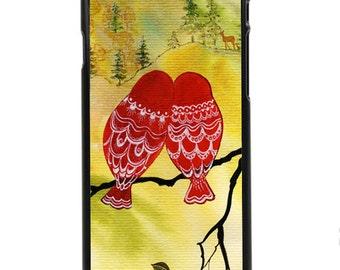 """Phone Case """"Look Deer"""" - Watercolor Art Giclee Print Romance Lovebirds Deer Owls Valentines Lovers Painting"""