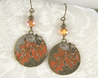 Enameled Bronze and Crystal Earrings