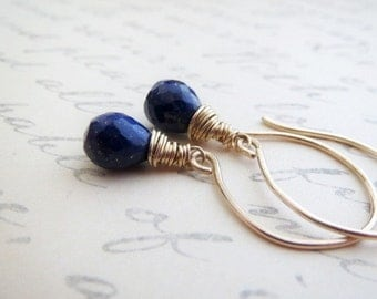 Petite Lapis Blue Dangle Earrings