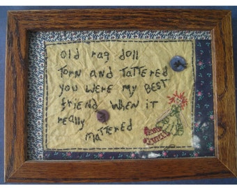 Charming Framed Embroidered Quote