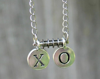 Silver Stamped Metal Disc Letters XO Hugs and Kisses on 16 inch chain