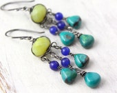 Olivine, Cobalt and Turquoise Chandelier Earrings Oxidized Silver
