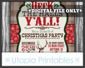 Western Christmas Invitation Deck The Halls Y'all Country Rural Theme Winter Old West Party Digital Printable Customized Rustic Deer Yall