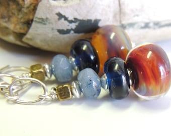 The MOODY BLUES Handmade Lampwork Bead Dangle Earrings