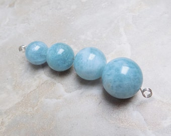 Aquamarine beads set of 4