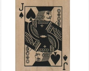 Rubber stamp Jack playing card spades  poker  scrapbooking supplies 1537