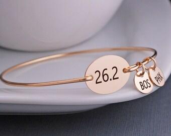 Marathon Bracelet, Marathon Jewelry, 26.2 Bangle Bracelet, Simple Athletic Jewelry