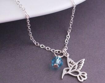 Bridesmaid Jewelry, Hummingbird Necklace, Wedding Party Jewelry, Bridal Jewelry, Custom Bridal Party Gift,