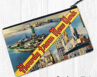 Greetings From New York—Zipper Bag Wristlet Clutch Pouch