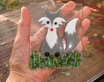 Grey Fused Glass Fox Ornament, Holiday Ornament,  Package Tie, Christmas Suncatcher, Winter Decoration, Fused Glass Fox Suncatcher