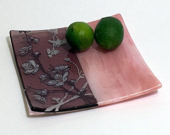 """Cherry Blossom Fused Glass 8"""" platter"""
