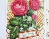 Handmade Birthday Card, 3D Birthday Greeting Card, Blank Card, Rose Card, Handmade Card, Floral Card, Anna Griffin Card