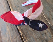 American Flag Knot Tied Headband Bandanna Headwrap Hair Band