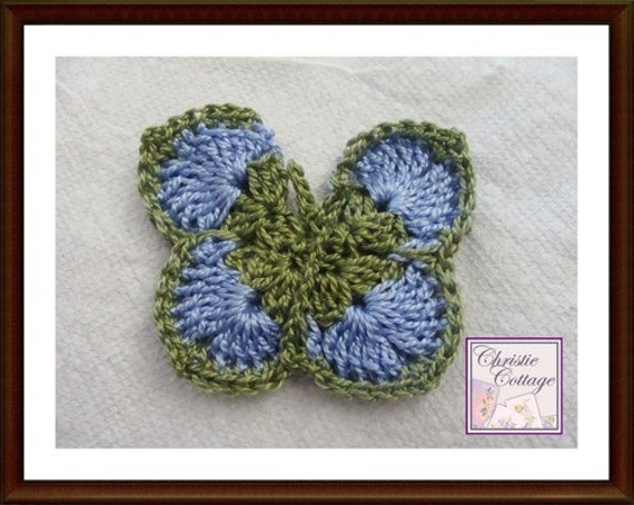 ... to Crocheted Butterfly Applique, Hair Accessory, Blue, Green on Etsy