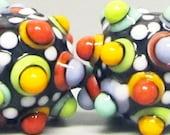 Random Mod Spot Bitty Balls in Black --Handmade Lampwork Beads