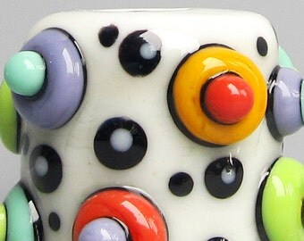 Mod Spot Big Drum Barrel in Cream--Handmade Lampwork Glass Bead