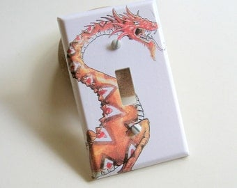 Dragon Graphic Single Switch Plate - switch cover, wall plate, dragon switch plate, orange, fantasy, home décor, kids room, Game of Thrones