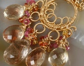 Rutilated Quartz, Oregon Sunstone,  Ruby, Orange & Yellow Sapphire Wire Wrapped Statement Necklace
