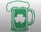 St Patricks Day SVG File,Beer Mug SVG File,Shamrock SVG-Cutting Template-Vector Clip Art-Commercial & Personal Use-Cricut,Cameo,Silhouette