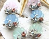Etched Ocean Scallops (Pink) - Set of 6 Ocean Themed Sea Shell Beads - SRA Handmade Lampwork