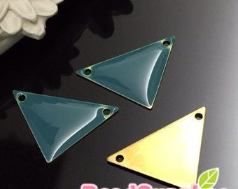 CH-EX-08101DT- Raw Brass,Big triangle charm, dusty turquoise, 4pcs