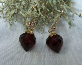 Garnet faceted upside down briolette, 14k solid gold French earwire earrings