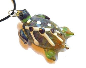 Multi colored Sea Turtle necklace, Lamp Work Glass Bead encased ocean pendant, ready to wear glass jewelry, Isinglass Design, glassbead