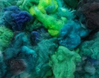 Deep Ocean - Spirit Spin Dyed Fibre Pack - Spinning Felting Weaving Fiber Polwarth Merino Wool Fleece