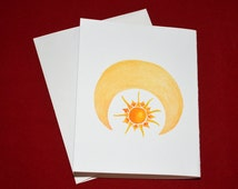 winter solstice cards, moon and sun, wheel of night - set of 10