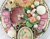 Half Off Sale Hand Mirror - Repurposed Jewelry - Peach Baroque Rose - M001042
