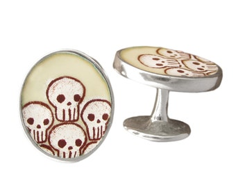 Skull Cufflinks - Enamel and Sterling Silver Skull Cufflinks