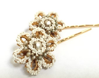 Nostalgic Pearl No.70 - dainty beaded vintage flower hair pins