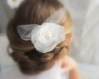 Romantic Ruffles v.2 White Organza, Freshwater Pearl and Tulle Fascinator / Bridal Comb / Headpiece