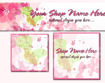 New! Premade Etsy Cover Photo - Large Etsy Banner - Etsy Shop Banner - SHOP ICON - Shop Profile - Simple Pink Flowers Watercolors