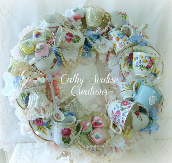 Shabby chic victorian vintage tea cup and teapot bone china wreath