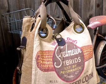 Stiegelmeier Seed Corn - Normal Illinois - Open Tote - Americana OOAK Canvas & Leather Tote W- vtg fabric... Selina Vaughan Studios