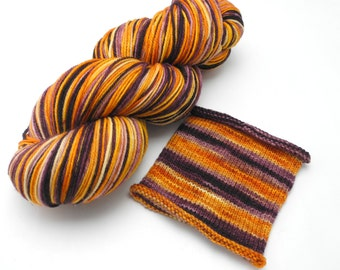 Blood Orange Watercolor Stripes - Self-Striping Targhee Sock Yarn Made to Order