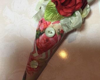 Valentines tussie mussie cone ornament